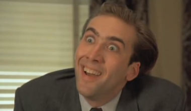 "Nicolas Cage in Vampire's Kiss -- ""You don't say?"""