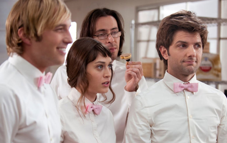Adam Scott, Lizzy Caplan and Martin Starr in Party Down